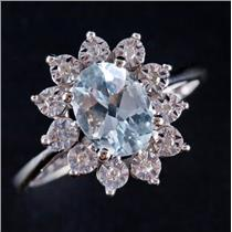 14k White Gold Oval Cut Aquamarine & Diamond Halo Style Ring 1.20ctw