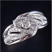 14k White Gold Round Cut Three-Stone Diamond Engagement Ring W/ Accents 1.25ctw