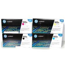 New Genuine HP LaserJet 502A/501A CMYK Print Cartridges