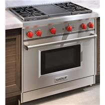 """Wolf 36"""" 4 Dual-Stacked Sealed Burners With Grill SS Pro-Style Gas Range GR364C"""