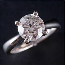 14k White Gold Round Cut Four Prong Diamond Solitaire Engagement Ring 1.97ct