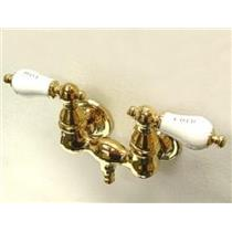 """Kingston Brass CC33T2 Vintage 3-3/8"""" Center Wall Mount ClawFoot Tub Faucet - PVD Polished Brass"""