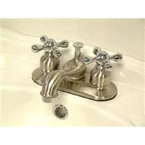 "Kingston Brass KB607X Victorian 4"" Centerset Bathroom Sink Faucet - Satin Nickel With Chrome Trim"