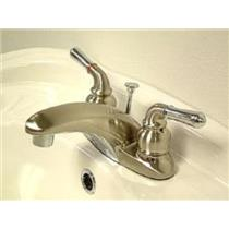 "Kingston Brass KB627  4"" Centerset Bathroom Sink Faucet - Satin Nickel With Chrome Accents"
