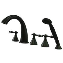 Kingston Brass KS23655NL Naples Roman Tub Filler With Hand Shower & Lever Handle - Oil Rubbed Bronze