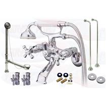 Chrome Tub Mount Clawfoot Bathtub Filler Faucet Kit W/Hand Shower - CCK265C