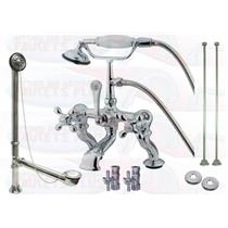 Kingston Brass CCK416T1 Clawfoot Tub Faucet Kit With Drain, Supplies & Stops - Polished Chrome