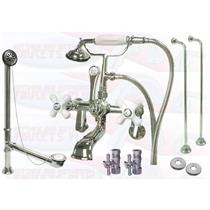 Kingston Brass CCK60T1 Wall Mounted Clawfoot Tub Faucet Kit - Polished Chrome