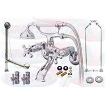Chrome Tub Mount Clawfoot Bathtub Filler Faucet Kit W/Personal Hand Shower - CCK265C-D