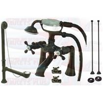 "Kingston Brass CCK268ORB 7"" Deck Mount Claw Foot Tub Filler-Shower Mixer Kit - Oil Rubbed Bronze"