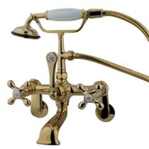Kingston Brass CC57T2 Adjustable Wall Mount ClawFoot Tub Filler-Shower Mixer Faucet-Polished Brass