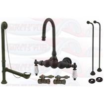 Kingston Brass CCK3T5 Oil Rubbed Bronze Clawfoot Tub Faucet Kit With Drain, Supplies & Stops