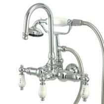 "Kingston Brass 3 3/8"" Center Wall Mount ClawFoot Tub Filler & Hand Shower Goose Neck Spout CC10T1"