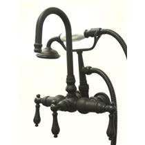 "Kingston Brass 3-3/8"" Center Wall Mount ClawFoot Tub Filler & Hand Shower Oil Rubbed Bronze CC7T5"