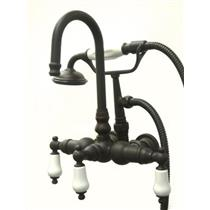 "Kingston Brass 3-3/8"" Center Wall Mount ClawFoot Tub Filler & Hand Shower Oil Rubbed Bronze CC11T5"