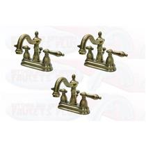 "3 - Kingston Brass KB1603AL 4"" Centerset Bathroom Sink Faucet  -  Vintage Antique Brass"