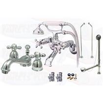 Kingston Brass Chrome Clawfoot Tub Faucet Kit - CCK265C-D-KS3951AX