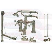 "Kingston Brass CCK268SN 7"" Deck Mount Claw Foot Tub Filler-Shower Mixer Kit - Satin Nickel"