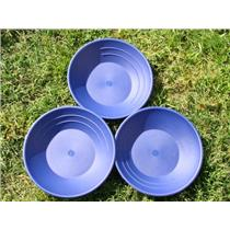 Lot of 3 Blue Gold Pans Panning Mining + FREE Snuffer