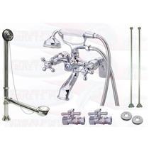"Kingston Brass CCK267C 6"" Deck Mount Claw Foot Tub Filler-Shower Mixer Kit - Polished Chrome"