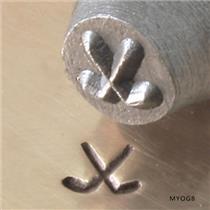 """Hockey Sticks"" 1/4""-6mm-Large Stamp-Metal-Hardened Steel-Gold&Silver Bars"