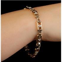 Men's Stunning 18k Yellow Gold & Platinum Diamond Link Tennis Bracelet 1.0ctw