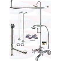 Chrome Clawfoot Tub Faucet Package  Faucet, Oval Shower Enclosure W/Head, Drain & Supply Kit