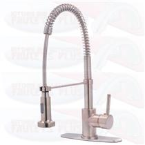 Kingston Brass Single Handle Pull-Down Spray Kitchen Faucet  Brushed Satin Nickel  Model GS8888DL