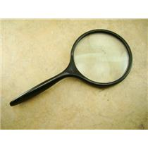"""4"""" Glass 2X Hand Held Magnifier Lens - Gold Minerials Gems Cions Stamps"""