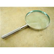 "4"" Glass 2X Hand Held Magnifier Glass Lens,  Metal Body - Gold Minerials Gems"