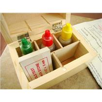 Gold Test Kit 10K - 14K - 18K Solutions - Test Stone & Instructions - Wooden Box