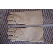 "1 Pair Professional Kevlar Heat Gloves-Furnace Kiln Fire 17"" Gold Melt Safety"