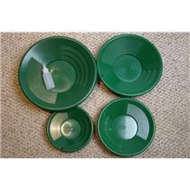 "Lot of  4 Green Gold Pans 8""-10""-12""-14"" Bottle Snuffer-Panning-Mining"