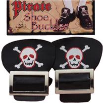 Pirate Shoe Buckles Accessory with Skull and Crossbones