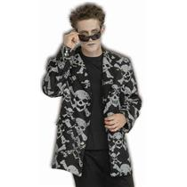 "Skull and Crossbones Skeleton Reaper Costume Sports Jacket X-Large 50"" Chest"