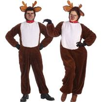 Reindeer Adult Plush Jumpsuit Costume