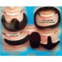 Black Assorted Beards Set Self Adhesive Stick-On Party Beards 5 pack