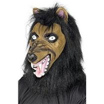 Brown Mad Wolf Costume Mask with Hair