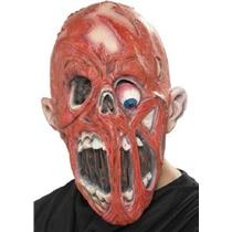 3/4 Red Zombie Adult Mask with Fleshless Face