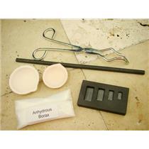 Gold Silver Melting Kit-1/4oz thru 2oz Mold-Stir Rod-Tong-Borax-2 Crucible Set