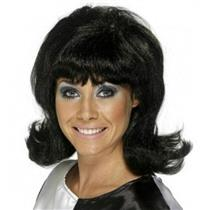 Black 60's Lady Flip Flick-Up Wig