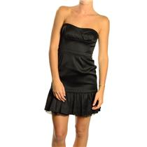 4 NWT BCBG Maxazria Black Satin Strapless Cocktail Dress w/Ruffled Flounce Hem