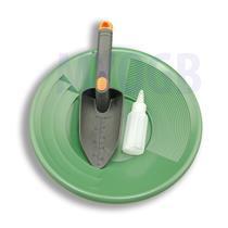 "Gold Panning Kit 12"" Green Pan - Bottle Snuffer & Scoop - Mining Prospecting"