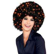 Black Fiber Optics Light Up Afro Wig Disco Pimp