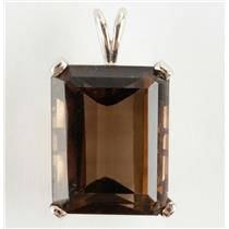 Ladies 14k White Gold Emerald Cut Smokey Quartz Solitaire Pendant 23.0ct