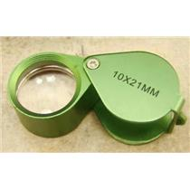 Jewlers 10X Loupe Green Anodized Aluminum K9 Optical Glass Lens 10X21MM