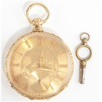 Stunning Vintage 1870's 18k Yellow Gold Hand Engraved Pocket Watch W/ Key Winder