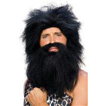 Black Prehistoric Caveman Wig and Beard Set