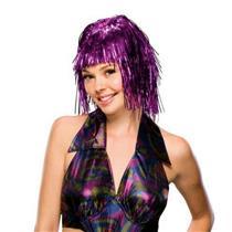 Pink Purple Metallic Tinsel Wig
