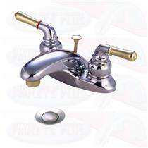 "Kingston Brass KB624 Magellan4"" Centerset Bathroom Sink Faucet - Polished Chrome - Brass Accents"